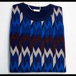 Brioni Sweater 100% Wool Blue Multicolor Accent 52